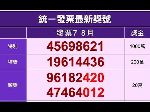 2019年7 8月統一發票中獎號碼(108年)