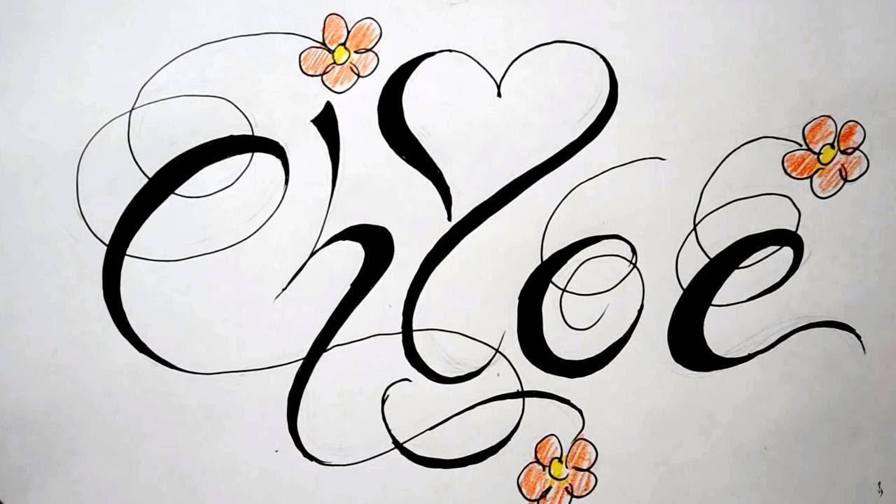 Drawing Fancy Script Design With Heart And