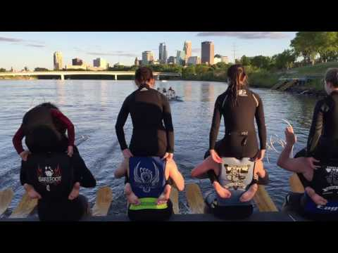 Watch the River Rats practice water skiing acrobatics on the Mississippi