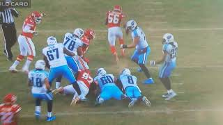 Marcus Mariota hit from Derrick Johnson gets hit hard fumble but ruled forward progress
