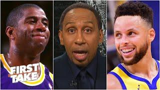 Stephen A. and Kendrick Perkins debate Steph Curry vs. Magic Johnson | First Take