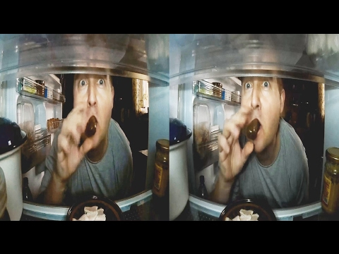 3D in the Fridge!NIGHT EATER! 3D VIDEO