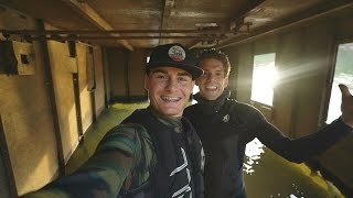Found Half Sunken Tug Boat in River! (Explored for Potential Treasure)   DALLMYD