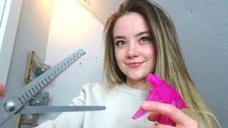 ASMR - MOST RELAXING Hair Wash & Cut! Fabric Sounds, Spray, Scissors, Role Play