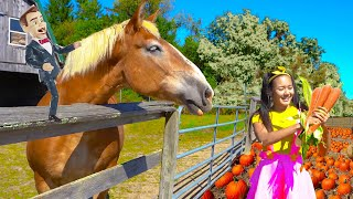 Science Class on Halloween Tractor Ride | Farm Animal Educational Video for Kids
