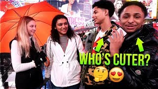 ASKING HOT GIRLS WHOS CUTER ME OR MY TWIN BROTHER?🤔😍| NYC Times Square Public Interview|