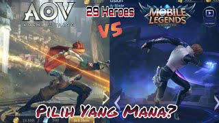ARENA OF VALOR vs MOBILE LEGENDS || 29 HERO Side by side_INSPIRASI atau PLAGIAT? #1