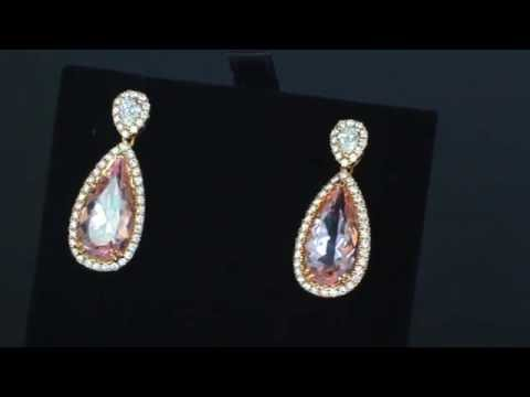 Browns Family Jewellers Morganite And Diamond Drop Earrings