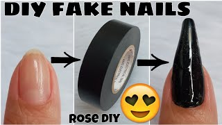 HOW TO MAKE FAKE NAILS USING ELECTRICAL TAPE | DIY FAKE NAILS WITH VINYL ELECTRIC TAPE AT HOME
