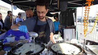 """Freshly made Rava Masala Dosas by the """"Dosa Dons"""" Indian Street Food at KERB in Kings Cross, London."""
