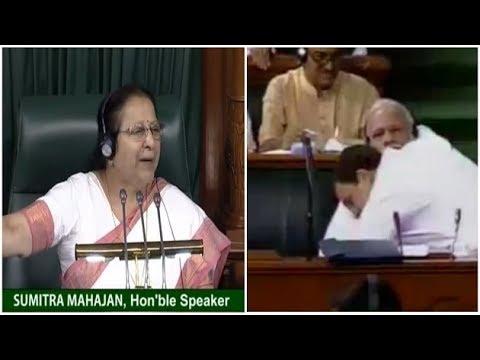 LS Speaker Sumitra Mahajan terms Rahul Gandhi hug a 'Natak'