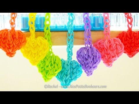 Coeurs Rainbow Loom en élastiques pour porte-clés ou pendentifs