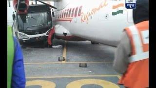 ABP - Jet Airways bus crashes into Air India flight at Kol..