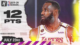 LeBron James IS BACK! 12 Points 1st Half Full Highlights | Mavericks vs Lakers | July 23, 2020