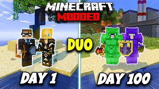 We Survived 100 Days on a MODDED Island!! - Duo Minecraft 100 Days