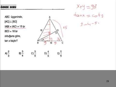 Trigonometride 5 Adet Şekilli Soru Çözümü LYS,YGS,KPSS