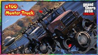 GTA 5|Thử Cho Tất Tần Tật Xe Chạy Qua 100 Chiếc Monter Trucks Lật Ngược Xem Nó NTN| Khôi Michael