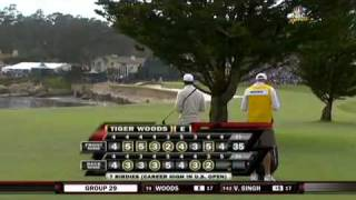 Tiger Woods 2010 U.S. Open at Pebble Beach on 18 (Second Shot)