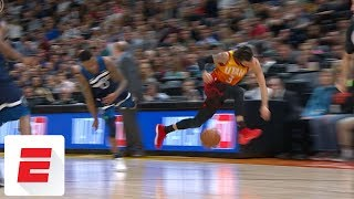 Jeff Teague body-checks Ricky Rubio, setting off scuffle late in Timberwolves-Jazz | ESPN