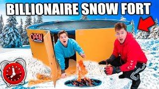 Worlds Biggest BILLIONAIRE Snow FORT! 24 Hour Challenge