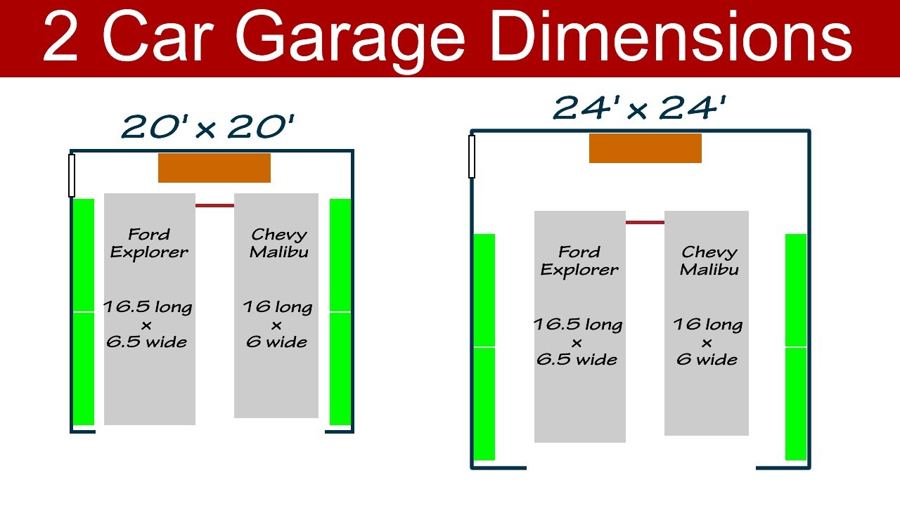Ideal 2 Car Garage Dimensions Youtube