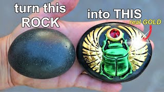 I Carve a Rock into a Beautiful scarab Beetle (with real GOLD)