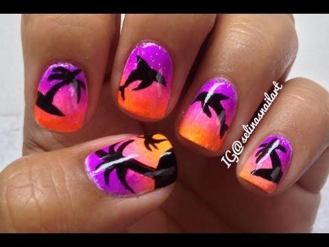 Palm Tree Amp Dolphin Nail Art Tutorial Youtube