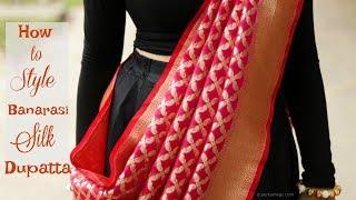 How to style Banarasi Silk dupatta in diferent ways | Ethnic Lookbook | Perkymegs - YouTube
