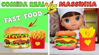 #3 COMIDA REAL VS MASSINHA PLAYDOH | FAST FOOD - Lilly Doll