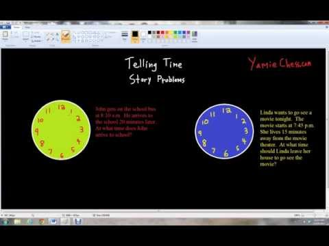 Telling Time and Clock Story Problems - Kindergarten math lesson