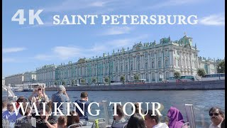 Walking and boat trip in Saint Petersburg ~ Virtual Walking Tour in Russia 4K UHD