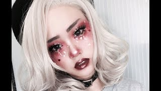 Red Glitter Tears Makeup Tutorial