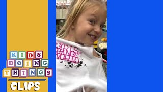 Funny Little Girl in a Store Cart   Kids Doing Things Clips
