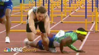 Unbelievable crash leads to photo finish in men's 110m hurdles | NBC Sports