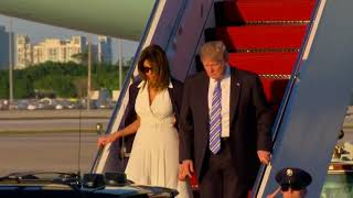 Trump, Melania step off Air Force One together