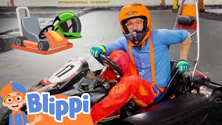 Blippi Drives A Go Kart! | Learn About Engines & Numbers | Educational Videos for Kids