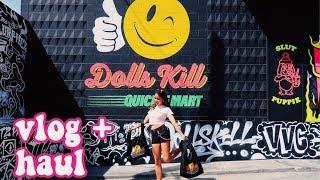 DOLLS KILL COACHELLA POP UP   vlog + try-on haul