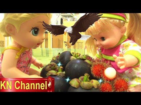 Đồ chơi trẻ em BÚP BÊ KN Channel BỊ CHIM QUẠ TẤN CÔNG | ĂN CẮP TRÁI CÂY
