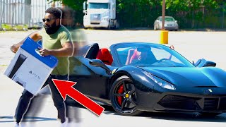 Going to the hood with a Ferrari and a PS5 prank!