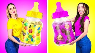 BOTTLE CANDY JELLY CHALLENGE || Good Girl VS Bad Girl! Funny Tricks and Pranks by 123 GO! FOOD