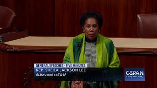 Rep. Shelia Jackson Lee reads Rep. John Conyers retirement statement (C-SPAN)