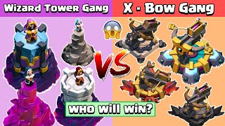 4x Max Wizard Tower VS 4x Max X-Bow Vs All Troops | Clash of Clans