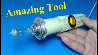 How to make hot air soldering iron using 12V / 55W Halogen Xenon bulb