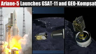 Ariane-5 Rocket Successfully Launches ISRO's GSAT-11 and South Korea's GEO-Kompsat | Highlights