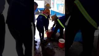 Công trường xây dựng vietinbank tower cấp nước đường chanh đá cho toàn bộ công nhân uống những ngày