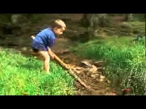 Kind Bub Wasser Bach Natur Staudamm Erfahrung spielen Elsava Spessart Holzstamm Koordination lernen