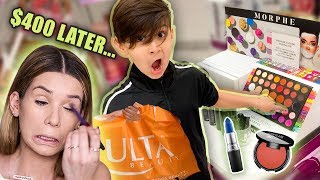 LITTLE BROTHER BUYS MY FULL FACE OF MAKEUP!
