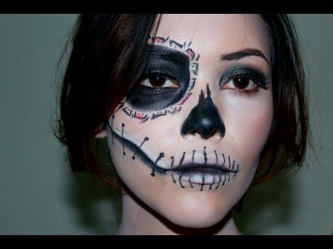 Maquillaje Mitad Calavera Para Halloween Videomovilescom