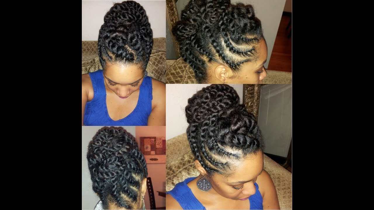 Hair Twist Braid Styles: Natural Hair Flat-twist Updo Protective Hairstyle
