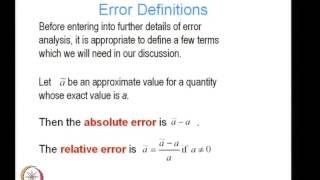 Mod-01 Lec-02 Error Analysis